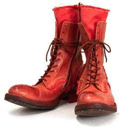 LACE-UP LAYERD BOOTS 02RED
